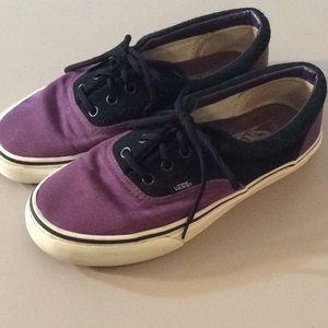 Vans Purple Canvas And Black Suede Size 7.5